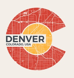 colorado t shirt design with denver city map vector image vector image