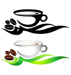 Cup of coffee with grains vector image vector image