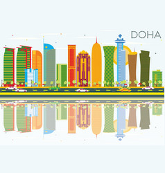 doha skyline with color buildings blue sky vector image
