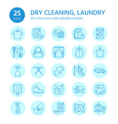 dry cleaning laundry line icons launderette vector image vector image