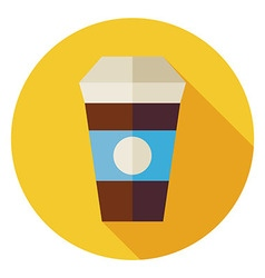Flat hot drink coffee cup circle icon with long vector