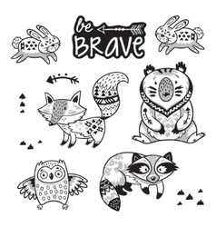 Forest tribal animals set black and white vector