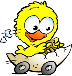 Hand-drawn of an cute baby chicken driving in a vector image