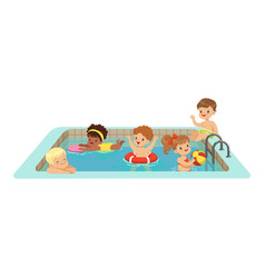 happy kids having fun in a swimming pool colorful vector image