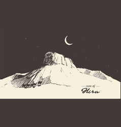 Holy cave hira mecca saudi arabia muslim drawn vector
