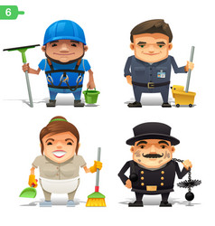 housekeeping professions set vector image vector image