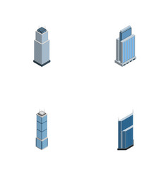 Isometric building set of apartment tower vector