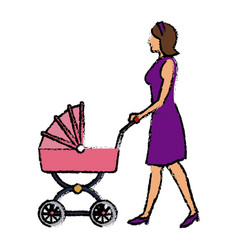 Mother pushing pink baby carriage vector