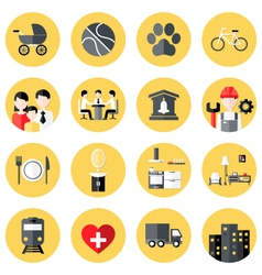 People Interests Flat Circle Icons Set over Yellow vector image vector image