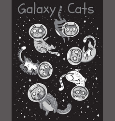 print with cats in space vector image vector image