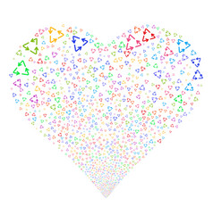 Recycle triangle fireworks heart vector