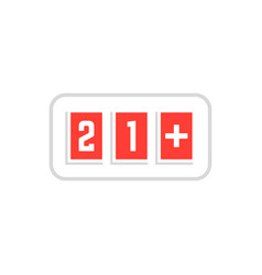 Red simple 21 plus icon scoreboard frame on white vector
