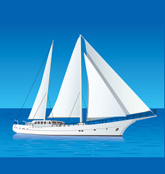 Sailing luxury yacht in the sea vector