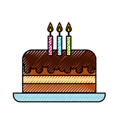 Scribble cute birthday cake cartoon vector