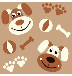 seamless background with dogs paws and bones vector image