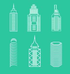 set linear buildings vector image