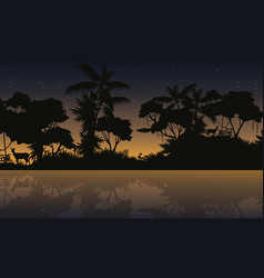 Silhouette jungle with lake beauty landscape vector