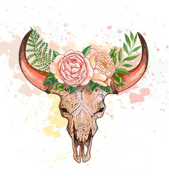 skull of a cow with horns decorated with flowers vector image vector image