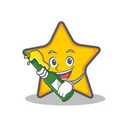 Star character cartoon style with beer vector