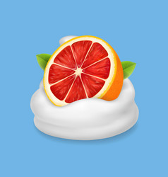 The ripe grapefruit in whipped cream or yogurt vector