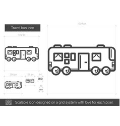 Travel bus line icon vector