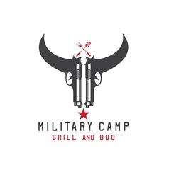 two guns in form of bull skull military bbq vector image vector image