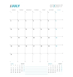 July 2017 print template monthly calendar vector