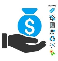 Investment hand flat icon with bonus vector