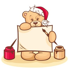christmas teddy with sign vector image