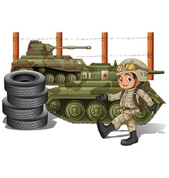 Soldier and military tanks vector image