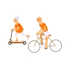 Elderly people on bicycles vector