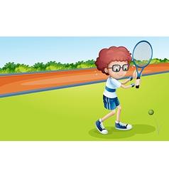 A boy holding a racket vector image