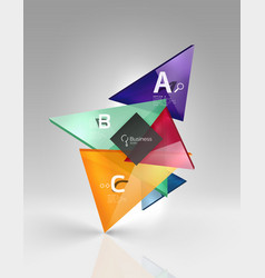 glossy glass translucent triangles on 3d empty vector image