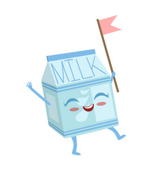 Milk carton cute anime humanized cartoon food vector