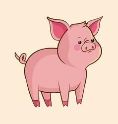cute pig wildlife image vector image
