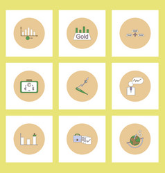 collection of icons in flat style world gold price vector image