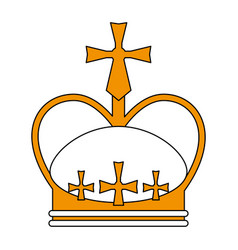 Sketch color silhouette crown with decorative vector