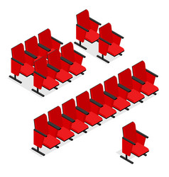 Cinema or theater seats set isometric view vector