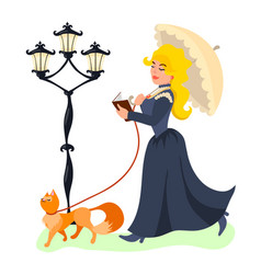 young lady walking with her cat and reading book vector image
