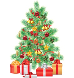 Green fir tree decorations gifts vector