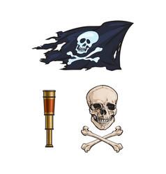 Cartoon pirates symbols set isolated vector