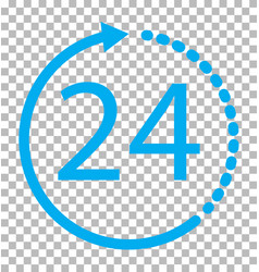 24 hours icon on transparent background 24 hours vector image vector image