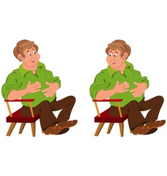 Happy cartoon man sitting in armchair with hands vector
