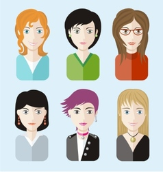 Women avatars portraits on blue background vector