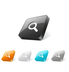 3d web button with magnifier icon vector image vector image