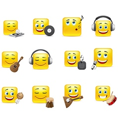 Smileys with musical instruments vector image