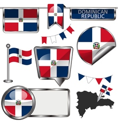 Glossy icons with dominican flag vector