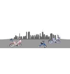 Riding a bike in the city vector