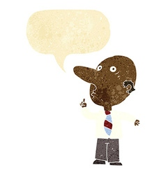 Cartoon bald man asking question with speech vector