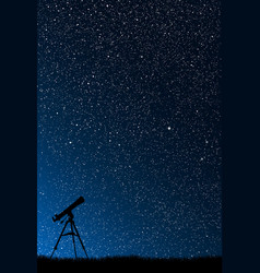 Silhouette of a telescope of the starry sky vector